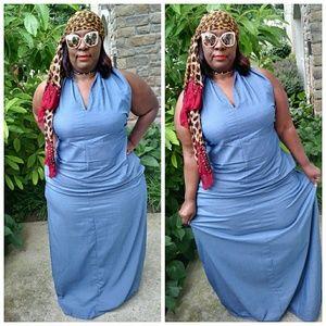 Light Blue Maxi Dress Plus Size